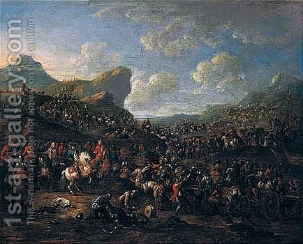 Landscape With A General Inspecting His Troops by (after) Pieter Van Bredael - Reproduction Oil Painting