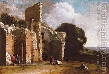 Landscape With Ruins, Peasants And Cattle by (after) Filippo (Il Napoletano) D'Angeli - Reproduction Oil Painting