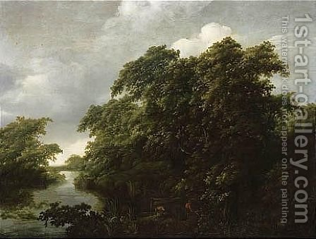 A Wooded River Landscape With Anglers Mooring Their Boats To The Bank by (after) Jan Lagoor - Reproduction Oil Painting