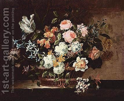 Still Life Of Tulips, Roses, Hyacinths And Other Flowers In A Wicker Basket Set On A Stone Table by (after) Jean-Baptiste Monnoyer - Reproduction Oil Painting