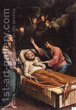 The Death Of Saint Joseph by Italian School - Reproduction Oil Painting