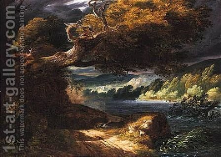 A Stormy Landscape With A Fallen Oak Beside A River, A Town Beyond by (after) Pierre-Henri De Valenciennes - Reproduction Oil Painting