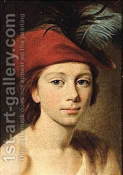Portrait Of A Young Boy, Head And Shoulders, Wearing A Red Plumed Cap by (after) Elisabeth Vigee-Lebrun - Reproduction Oil Painting
