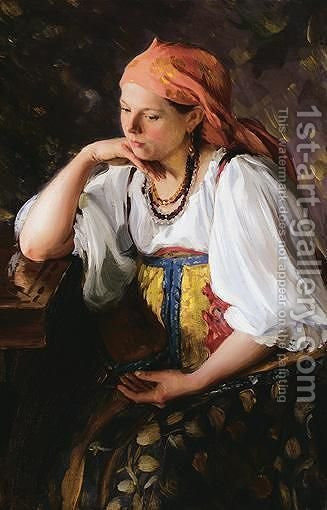 Daydreaming by Ivan Semyonovich Kulikov - Reproduction Oil Painting