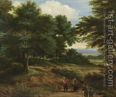 A Wooded Landscape With  Travellers On A Path by (after) Pieter Bout - Reproduction Oil Painting