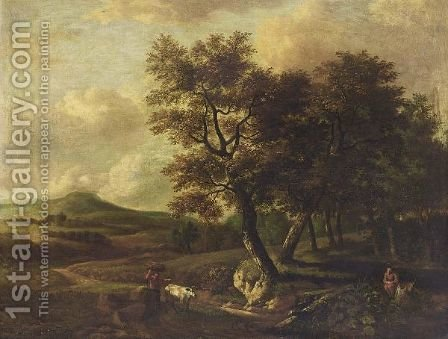 A Wooded Landscape With A Man And His Cow Carrying Wood On A Path, Another Man Resting On A Tree Trunk In The Lower Foreground by (after) Jan Wijnants - Reproduction Oil Painting