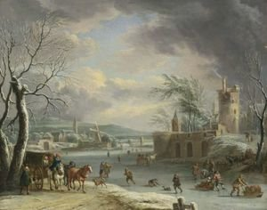 Famous paintings of Ice skating: A Winter Landscape With Travellers In A Horse-Drawn Carriage, Figures Skating And Sledding On The Ice, A Fortification In A Village Nearby, And Another Village With Mills And A Church Beyond