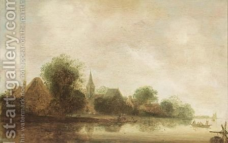 A River Landscape With Rowing Boats Near A Village And A Church by (after) Wouter Knyff - Reproduction Oil Painting