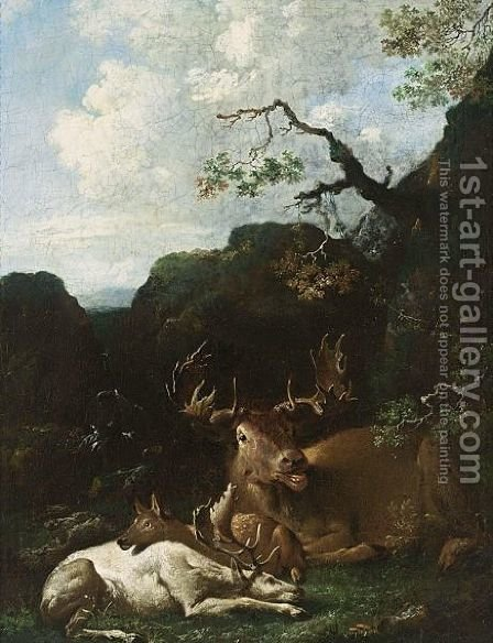 An Elk, An Albino Stag And A Deer Resting Under A Tree In A Mountainous Wooded Landscape Near A Waterfall by (after) Carl Borromaus Andreas Ruthart - Reproduction Oil Painting