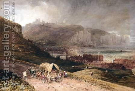 Soldiers With A Waggon Approaching Dover by (after) Cox, David - Reproduction Oil Painting