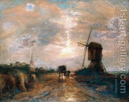 Coastal Landscape With Windmill by (after) James Webb - Reproduction Oil Painting