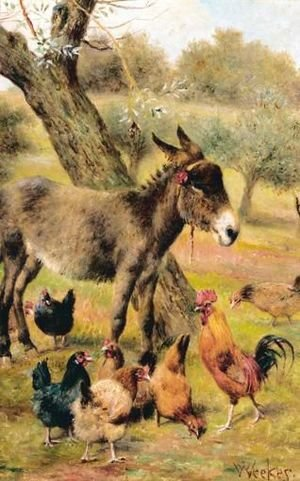 Reproduction oil paintings - Herbert William Weekes - Donkey And Hens In Wooded Landscape