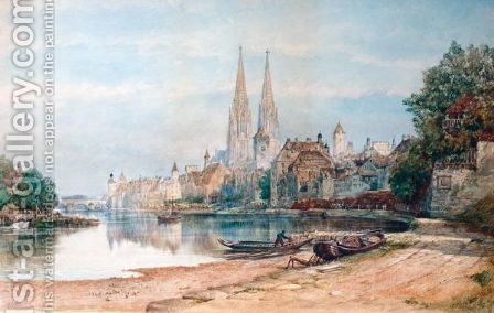 View Of Ratisbon Cathedral by Henry William Brewer - Reproduction Oil Painting