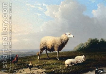 Sheep And Fowl On A Hilltop by Franz van Severdonck - Reproduction Oil Painting