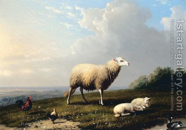 Huge version of Sheep And Fowl On A Hilltop