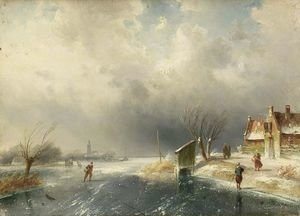 Famous paintings of Ice skating: Figures In A Winter Landscape