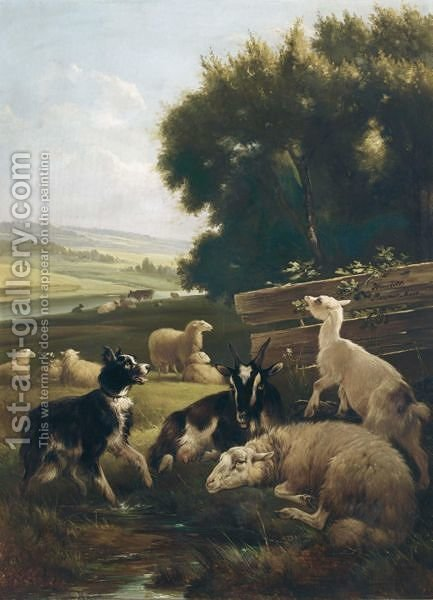 Watching The Flock by Henriette Ronner-Knip - Reproduction Oil Painting