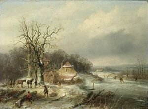 Famous paintings of Ice skating: Winter Landscape With Skaters And Woodgatherers