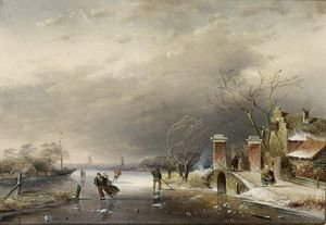 Famous paintings of Ice skating: A Winter Landscape With Figures On A Frozen Waterway 2