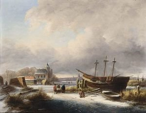 Winter Landscape With Figures By A Boat