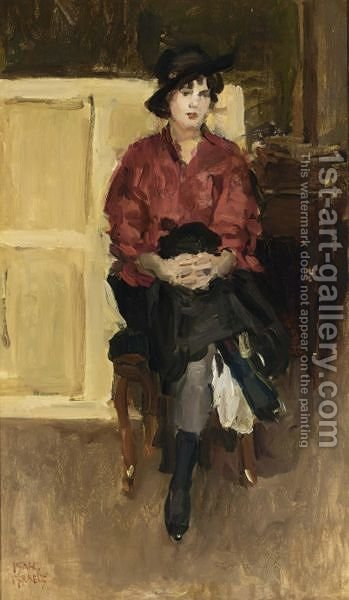 A Seated Girl In A Red Blouse by Isaac Israels - Reproduction Oil Painting