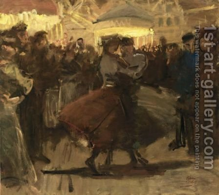 Girls Dancing On A Fair In The Jordaan, Amsterdam by Isaac Israels - Reproduction Oil Painting
