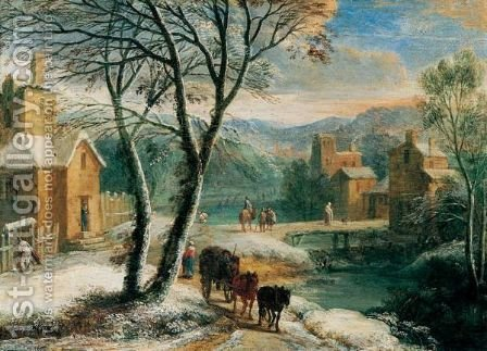 A Winter Landscape With Travellers And Waggoners Beside A River by Adriaen Frans Boudewijns - Reproduction Oil Painting