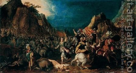 A Classical Battle Scene by Adriaen van Nieulandt - Reproduction Oil Painting