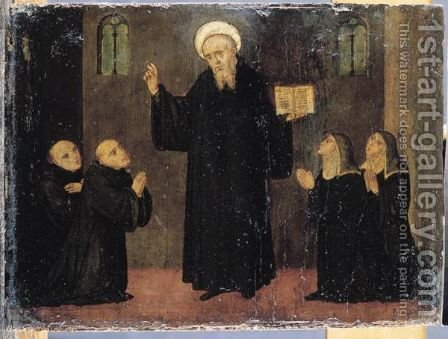 Saint Benedict With Maurus, Plaudus, Scolastica And Flavia by Italian Unknown Master - Reproduction Oil Painting