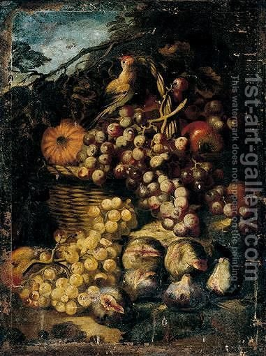 Still Life Of Red Grapes, A Melon And Apples In A Wicker Basket, With Figs And White Grapes, Together With A Song Bird, In A Landscape Setting by (after) Abraham Brueghel - Reproduction Oil Painting