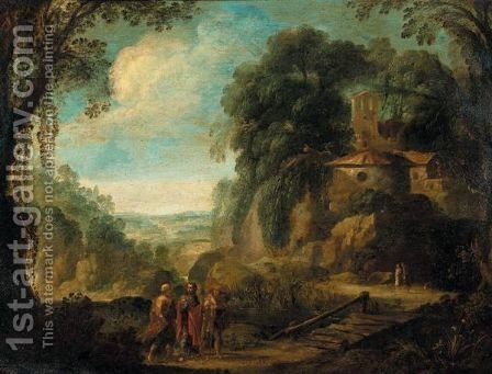 Landscape With Christ On The Road To Emmaus by (after) Paul Bril - Reproduction Oil Painting