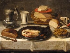 Still Life Of A Pewter Plate With A Jan Steen Jug, A Cup, A Basket Of Bread, And A Dog On A Table