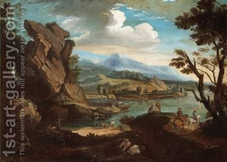 A Mountainous Landscape With Figures By A Lake by (after) Jacob De Heusch - Reproduction Oil Painting