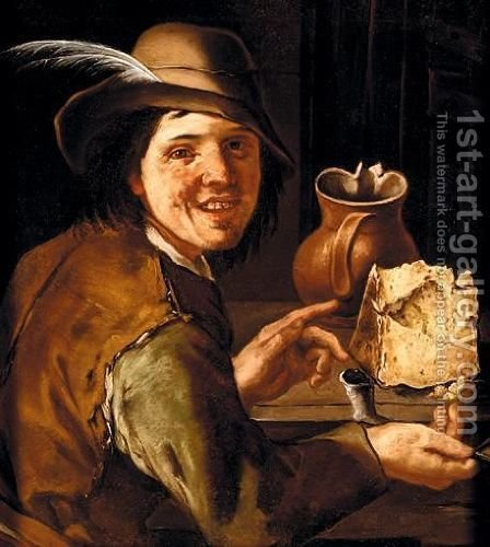 A Merry Smoker At A Table With A Large Cheese And An Earthenware Jug by (after) Giacomo Francesco Cipper - Reproduction Oil Painting