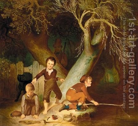 Young Boys Fishing by (after) Sir David Wilkie - Reproduction Oil Painting