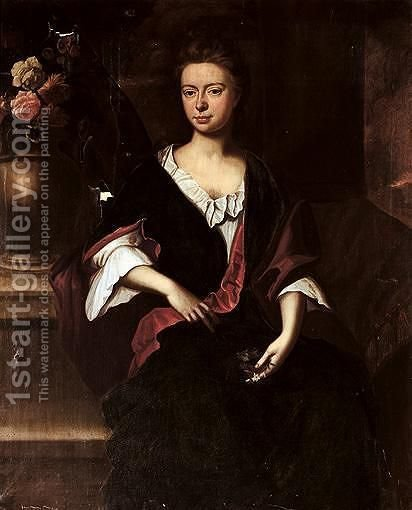 Portrait Of Maria Harwood, Daughter Of John Harwood (D.1734) by (after) John Riley - Reproduction Oil Painting