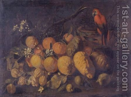 Still Life With Oranges, Lemons And A Parrot In A Landscape by Giovanni Battista Ruoppolo - Reproduction Oil Painting