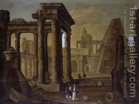 A Capriccio With Roman Ruins by Hubert Robert - Reproduction Oil Painting