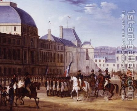 Napoleon Reviewing His Troops In The Courtyard Of The Louvre, Paris by (after) Carle Vernet - Reproduction Oil Painting