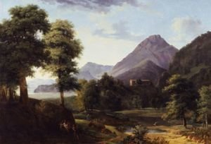 Reproduction oil paintings - Jean-Victor Bertin - Mountainous Landscape With Figures And A Roman Temple Beyond