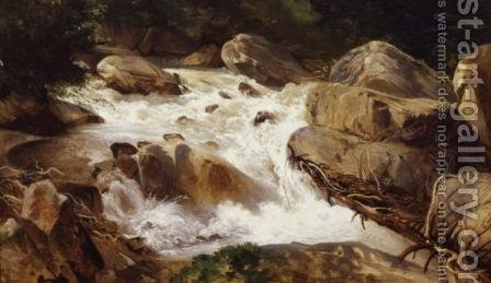 A Torrent by Alexandre Calame - Reproduction Oil Painting