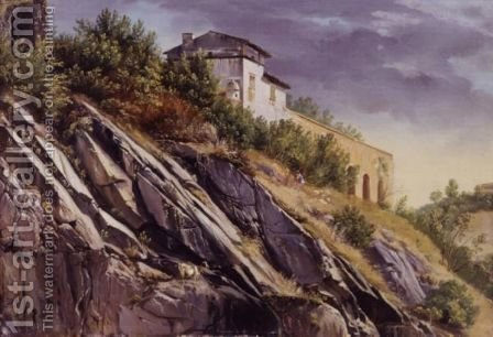 View Of A Building On Top Of A Rocky Hill by Alexandre Calame - Reproduction Oil Painting