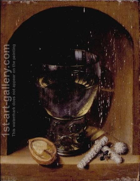 A Roemer, A Walnut And Sugar In A Stone Niche by (after) Georg Flegel - Reproduction Oil Painting