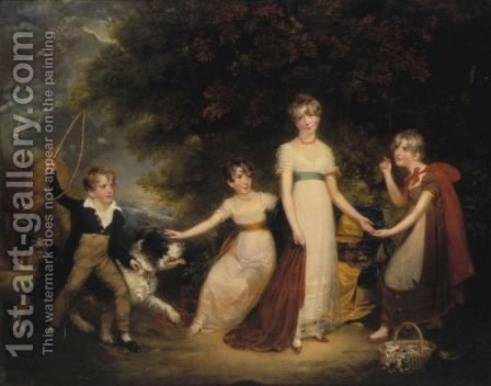 Portrait Of The Children Of Sir Walter Stirling, 1st Bart. by (after) Sir William Beechey - Reproduction Oil Painting