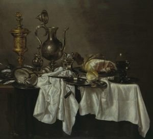 Still Life With A Silver Ewer, A Silver-Gilt Covered Cup, A Ham, A Salt, A Roemer, A Nautilus Shell And Other Objects, All On A Cloth-Draped Table