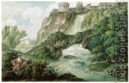 A Pair Of Landscapes, One Classical, The Other Romantic In Subject by (after) Philippe Auguste Hennequin - Reproduction Oil Painting
