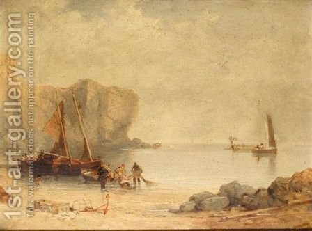 Hauling in the nets by (after) Edmund Thornton Crawford - Reproduction Oil Painting