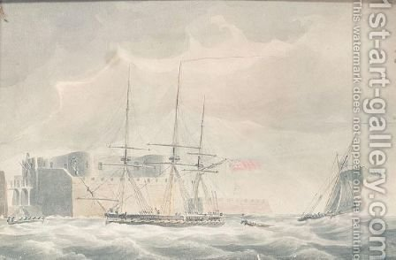Seascape with ships and fortress by (after) John Thomas Serres - Reproduction Oil Painting