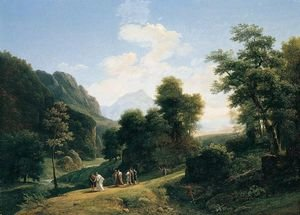 Reproduction oil paintings - Jean-Victor Bertin - A classical landscape with Marius fleeing Rome at the approach of Sylla