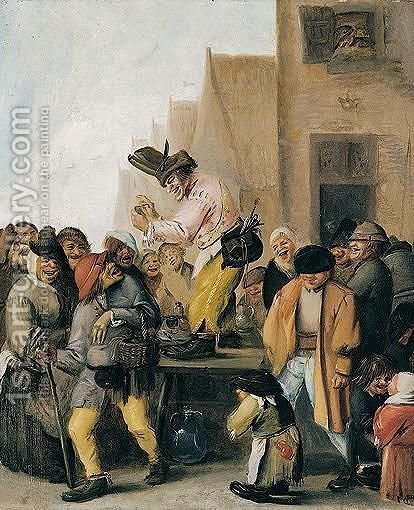 A street scene with a quack surrounded by peasants by Hans Bollongier - Reproduction Oil Painting